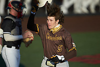 Jeremy Drudge (5) of the Valparaiso Crusaders celebrates after hitting a home run against the Western Kentucky Hilltoppers at Nick Denes Field on March 19, 2021 in Bowling Green, Kentucky. (Brian Westerholt/Four Seam Images)
