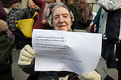 99 year-old Lily Chitty, a used of Millman Street Resource Centre, joins users of Age Concern Camden's three resource centres at a demonstration outside Camden Town Hall following  the council's decision to cut funding and close them down.