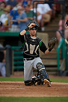 Dayton Dragons catcher Morgan Lofstrom (34) during a Midwest League game against the Kane County Cougars on July 20, 2019 at Northwestern Medicine Field in Geneva, Illinois.  Dayton defeated Kane County 1-0.  (Mike Janes/Four Seam Images)
