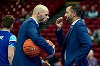 GRONINGEN - Basketbal, Donar - Apollo Amsterdam , Dutch Basketbal League, seizoen 2021-2022, 26-09-2021,  Donar coach Matthew Otten met Donar assistent trainer Jan Stalman