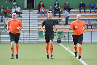 referee Christophe Carrein (M) with assistant referee Vermeulen Andy (R) and Bjorn Geert Wydaeghe (L) pictured during a female soccer game between SV Zulte - Waregem and RSC Anderlecht Dames on the second matchday of the 2020 - 2021 season of Belgian Scooore Women s SuperLeague , saturday 5 th of September 2020  in Zulte , Belgium . PHOTO SPORTPIX.BE | SPP | DIRK VUYLSTEKE
