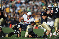 South Bend, IN - OCTOBER 4:  Defensive tackle Matthew Masifilo #98 of the Stanford Cardinal during Stanford's 28-21 loss against the Notre Dame Fighting Irish on October 4, 2008 at Notre Dame Stadium in South Bend, Indiana.