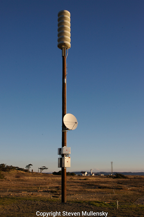 Newly erected tsunami warning device at Fort Worden State Park in Port Townsend, Washington