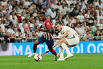 Real Madrid's Gareth Bale and Atletico de Madrid's Thomas Lemar during La Liga match between Real Madrid and Atletico de Madrid at Santiago Bernabeu Stadium in Madrid, Spain. September 29, 2018. (ALTERPHOTOS/A. Perez Meca)
