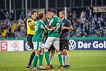 12.09.2020, Ernst-Abbe-Sportfeld, Jena, GER, DFB-Pokal, 1. Runde, FC Carl Zeiss Jena vs SV Werder Bremen<br /> <br /> <br /> <br /> Dennis Slamar (Carl Zeiss Jena #04)<br /> Davie Selke  (SV Werder Bremen #09)<br /> Joshua Sargent (Werder Bremen #19)<br /> Daniel Siebert (Schiedsrichter / Referee)<br /> Marius Grösch (Carl Zeiss Jena #15)<br /> <br />  <br /> <br /> <br /> Foto © nordphoto / Kokenge