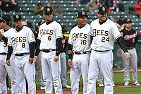 Taylor Lindsey (8,) Grant Green (6,) Efren Navarro (16,) and C.J. Cron (24,) of the Salt Lake Bees prior to the game against the Sacramento River Cats at Smith's Ballpark on April 3, 2014 in Salt Lake City, Utah.  (Stephen Smith/Four Seam Images)