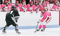 Boston, Massachusetts - January 22, 2017: NCAA Division I. Boston University (pink) defeated Providence College (black), 5-2, at Walter Brown Arena.