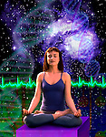 metaphoric composite photo illustration with icons of health including female practicing yoga, a heart rhythm and deep space imagery