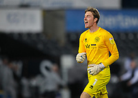 20th April 2021; Liberty Stadium, Swansea, Glamorgan, Wales; English Football League Championship Football, Swansea City versus Queens Park Rangers; Joe Lumley of Queens Park Rangers  celebrates at the final whistle as his side won 0-1