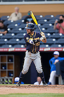 Aaron Knapp (23) of the California Golden Bears at bat against the Duke Blue Devils at Durham Bulls Athletic Park on February 20, 2016 in Durham, North Carolina.  The Blue Devils defeated the Golden Bears 6-5 in 10 innings.  (Brian Westerholt/Four Seam Images)
