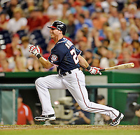 16 May 2012: Washington Nationals outfielder Rick Ankiel in action against the Pittsburgh Pirates at Nationals Park in Washington, DC. The Nationals defeated the Pirates 7-4 in the first game of their 2-game series. Mandatory Credit: Ed Wolfstein Photo
