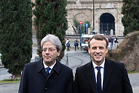 Italian Premier Paolo Gentiloni, left, and French President Emmanuel Macron arrive for a visit at the Domus Aurea in Rome, January 11, 2018. In background, the Colosseum is seen.<br /> UPDATE IMAGES PRESS/Riccardo De Luca<br /> ITALY OUT