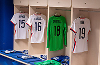 LE HAVRE, FRANCE - APRIL 13: USWNT jerseys hang in the locker room before a game between France and USWNT at Stade Oceane on April 13, 2021 in Le Havre, France.