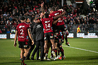The Crusaders celebrate at the final whistle of the 2021 Super Rugby Aotearoa final between the Crusaders and Chiefs at Orangetheory Stadium in Christchurch, New Zealand on Saturday, 8 May 2021. Photo: Joe Johnson / lintottphoto.co.nz