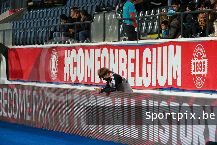 Illustration picture shows #comeonbelgium at a soccer game between the national teams Under21 Youth teams of Belgium and Kazakhstan on the third matday in group I for the qualification for the Under 21 EURO 2023 , on friday 8 th of october 2021  in Leuven , Belgium . PHOTO SPORTPIX | SEVIL OKTEM