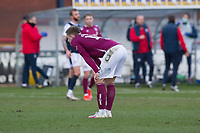 13th March 2021; Dens Park, Dundee, Scotland; Scottish Championship Football, Dundee FC versus Arbroath; Scott Stewart of Arbroath dejected at full time