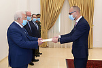 Palestinian President Mahmoud Abbas, receives the Credentials of the Ambassador of the Republic of Lithuania to Palestine, in the West Bank city of Ramallah, on March 10, 2021. Photo by Thaer Ganaim