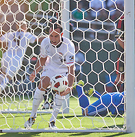 PASADENA, CA – June 25, 2011: USA player Landon Donovan (10) celebrates a USA goal during the Gold Cup Final match between USA and Mexico at the Rose Bowl in Pasadena, California. Final score USA 2 and Mexico 4.