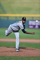 Surprise Saguaros pitcher Tayron Guerrero (50) during an Arizona Fall League game against the Mesa Solar Sox on October 17, 2014 at Cubs Park in Mesa, Arizona.  Mesa defeated Mesa 5-3.  (Mike Janes/Four Seam Images)