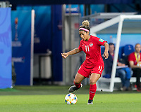 GRENOBLE, FRANCE - JUNE 15: Desiree Scott #11 of the Canadian National Team passes the ball during a game between New Zealand and Canada at Stade des Alpes on June 15, 2019 in Grenoble, France.