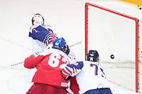 29th May 2021; Olympic Sports Centre, Riga, Latvia; IIHF World Championship Ice Hockey, Czech Republic versus Great Britain;  goalkeeper Jackson Whistle Great Britain cant stop this puck as Czech Republic score for 3-0