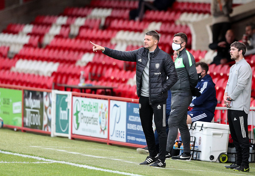 Leeds United U21's coach Mark Jackson shouts instructions to his team from the technical area<br /> <br /> Photographer Alex Dodd/CameraSport<br /> <br /> EFL Trophy Northern Section Group G - Accrington Stanley v Leeds United U21 - Tuesday 8th September 2020 - Crown Ground - Accrington<br />  <br /> World Copyright © 2020 CameraSport. All rights reserved. 43 Linden Ave. Countesthorpe. Leicester. England. LE8 5PG - Tel: +44 (0) 116 277 4147 - admin@camerasport.com - www.camerasport.com