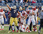 Dec. 28, 2013; Stephon Tuitt (7) celebrates after sacking Rutgers Scarlet Knights quarterback Chas Dodd (19) in the fourth quarter of the Pinstripe Bowl in Yankee Stadium.<br /> <br /> Photo by Matt Cashore