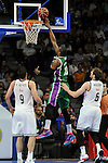 Real Madrid´s Andres Nocioni and Felipe Reyes and Unicaja´s Will Thomas  during 2014-15 Liga Endesa match between Real Madrid and Unicaja at Palacio de los Deportes stadium in Madrid, Spain. April 30, 2015. (ALTERPHOTOS/Luis Fernandez)