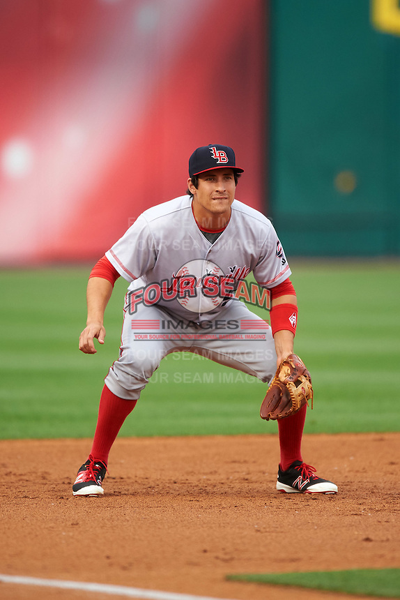 Louisville Bats third baseman Seth Mejias-Brean (5) during a game against the Buffalo Bisons on June 20, 2016 at Coca-Cola Field in Buffalo, New York.  Louisville defeated Buffalo 4-1.  (Mike Janes/Four Seam Images)