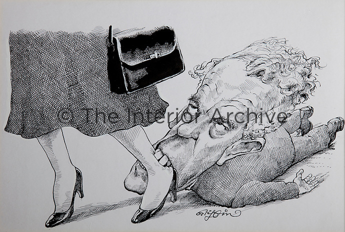 Cartoon by Griffin of Tam in dogged pursuit of Mrs Thatcher