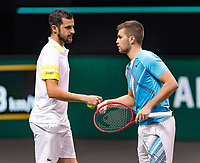 Rotterdam, The Netherlands, 5 march  2021, ABNAMRO World Tennis Tournament, Ahoy,  Second round doubles: Nikola Mektic (CRO) / Mate Pavic (CRO).<br /> Photo: www.tennisimages.com/