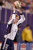 """USA's Cindy Parlow. The US Women's National Team tied the Denmark Women's National Team 1 to 1 during game 8 of the 10 game the """"Fan Celebration Tour"""" at Giant's Stadium, East Rutherford, NJ, on Wednesday, November 3, 2004.."""