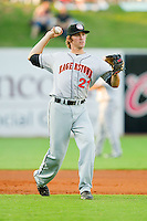 Third baseman Stephen King #21 of the Hagerstown Suns makes a throw to first base against the Greensboro Grasshoppers at NewBridge Bank Park July 30, 2010, in Greensboro, North Carolina.  Photo by Brian Westerholt / Four Seam Images