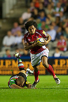 Hudson Tonga'uiha of London Welsh steps out of the tackle attempt of Rob Buchanan of Harlequins during the Aviva Premiership match between Harlequins and London Welsh at the Twickenham Stoop on Friday 7th September 2012 (Photo by Rob Munro)