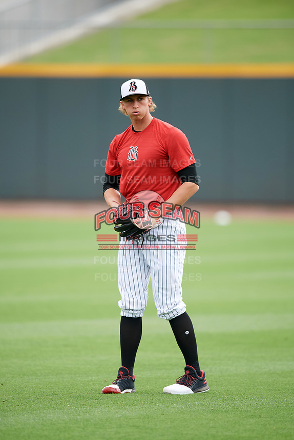 Birmingham Barons pitcher Michael Kopech (30) throws in the outfield before a game against the Jacksonville Jumbo Shrimp on April 24, 2017 at Regions Field in Birmingham, Alabama.  Jacksonville defeated Birmingham 4-1.  (Mike Janes/Four Seam Images)