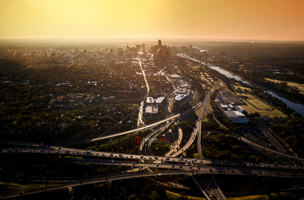 Aerial view from a helicopter of the downtown Austin skyline and Mopac highway interchange during morning rush hour traffic in downtown Austin, Texas.