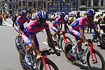The Lampre-ISD team including Michele Scarponi (ITA) head out on course before the Prologue of the 99th edition of the Tour de France 2012, a 6.4km individual time trial starting in Parc d'Avroy, Liege, Belgium. 30th June 2012.<br /> (Photo by Eoin Clarke/NEWSFILE)
