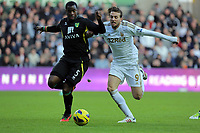 Saturday, 08 December 2012<br /> Pictured: Michu of Swansea (R) challenged by Sebastien Bassong of Norwich (L)<br /> Re: Barclays Premier League, Swansea City FC v Norwich City at the Liberty Stadium, south Wales.
