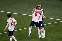 3rd July 2021, Stadio Olimpico, Rome, Italy;  Euro 2020 Football Championships, England versus Ukraine quarter final;  Jordan Henderson England celebrates his goal for 0:4 with Harry Kane England