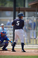 New York Yankees shortstop Wilkerman Garcia (5) at bat during a minor league Spring Training game against the Toronto Blue Jays on March 30, 2017 at the Englebert Complex in Dunedin, Florida.  (Mike Janes/Four Seam Images)