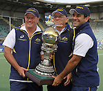 The Hague, Netherlands, June 15: Kookaburras coaches with the World Cup Trophy after the prize giving ceremony on June 15, 2014 during the World Cup 2014 at Kyocera Stadium in The Hague, Netherlands. (Photo by Dirk Markgraf / www.265-images.com) *** Local caption *** (L-R) Graham Reid, Ric Charlesworth, Paul Gaudoin