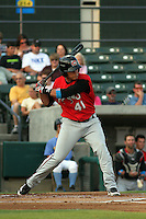 Carolina Mudcats infielder Giovanny Urshela #41 at bat during a game against the Myrtle Beach Pelicans at Ticketreturn.com Field at Pelicans Park on June 30, 2012 in Myrtle Beach, South Carolina. Myrtle Beach defeated Carolina by the score of 5-4 in 11 innings. (Robert Gurganus/Four Seam Images)