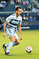 KANSAS CITY, KS - MAY 9: Roberto Puncec #4 Sporting KC with the ball during a game between Austin FC and Sporting Kansas City at Children's Mercy Park on May 9, 2021 in Kansas City, Kansas.