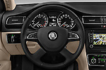 Car pictures of steering wheel view of a 2015 Skoda SUPERB Elegance 5 Door Wagon 2WD Steering Wheel