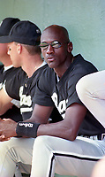Birmingham Barons Michael Jordan (45) during a 1994 Southern League game against the Orlando Cubs at Tinker Field in Orlando, Florida.  (Tyler Bolden/Four Seam Images)