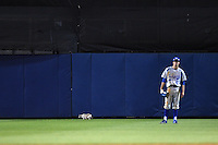 Cat on the field behind center fielder Landon Curry (25) as the Indiana State Sycamores takes on the Vanderbilt Commodores on February 20, 2015 at Charlotte Sports Park in Port Charlotte, Florida.  Vanderbilt defeated Indiana State 3-2.  (Mike Janes/Four Seam Images)