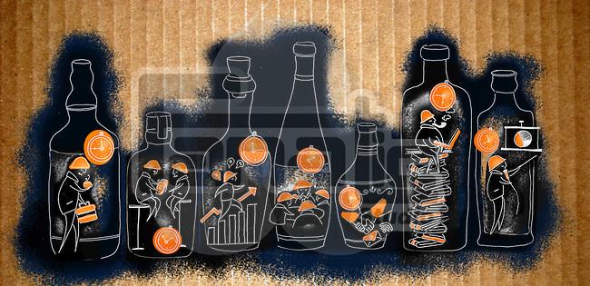 Illustrative image of businessmen working in bottles representing time management