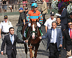 July 04 2015:  Force the Pass with Joel Rosario  win the 1,500,000 Grade I Belmont Derby for 3-year olds & up, going 1 1/4 mile on the turf, at Belmont Park.  Trainer Alan Goldberg. Owner Richard Santulli. Sue Kawczynski/ESW/CSM