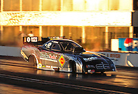 Jan 25, 2009; Chandler, AZ, USA; NHRA funny car driver Matt Hagan races down track during testing at the National Time Trials at Firebird International Raceway. Mandatory Credit: Mark J. Rebilas-