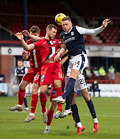 19th December 2020; Dens Park, Dundee, Scotland; Scottish Championship Football, Dundee FC versus Dunfermline; Lee Ashcroft of Dundee competes in the air with Steven Whittaker of Dunfermline Athletic